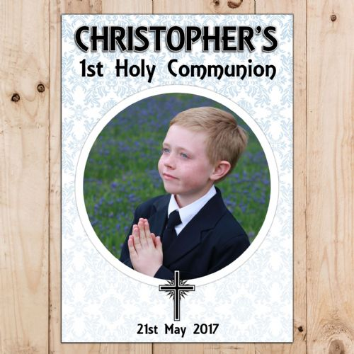 Boys Personalised First Holy Communion Celebration PHOTO Poster Banner N64